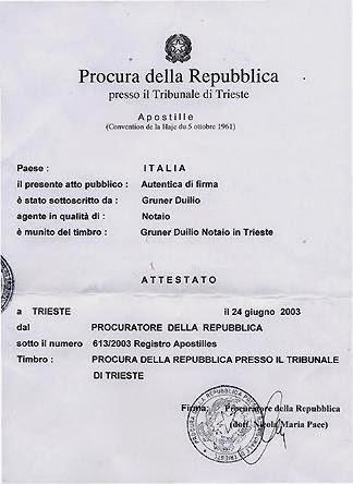 Apostille Italy