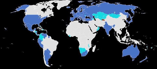 Apostille státy - mapa